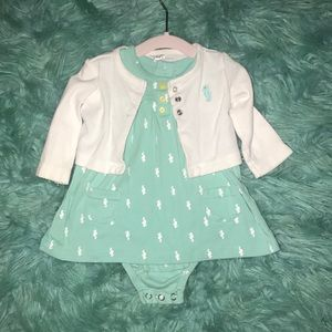 Carters   3 M   teal & white 2 piece dress